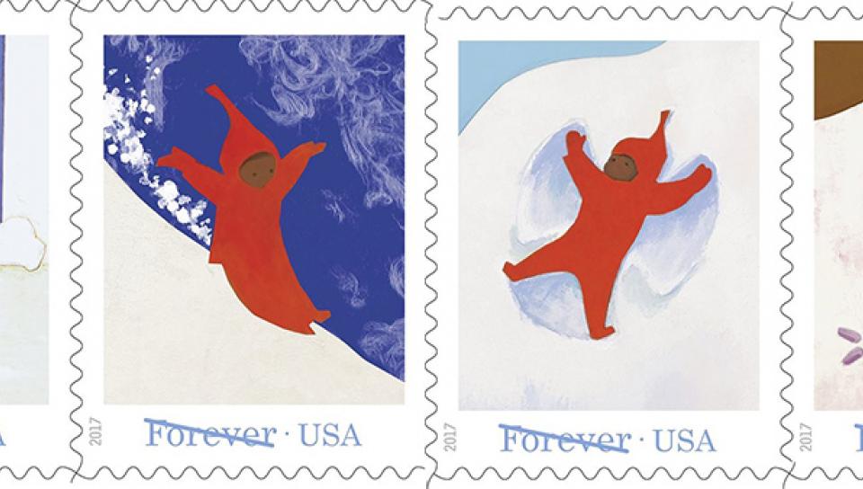 美國郵政署依據童書The Snow Day設計的郵票(USPS)