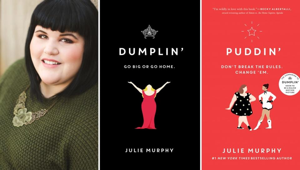 左起:小說家茱莉.墨菲及其作品《包子》、《布丁》(取自官網)