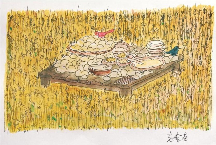 (金宇澄為最新作品集手繪的插圖,東美出版提供)