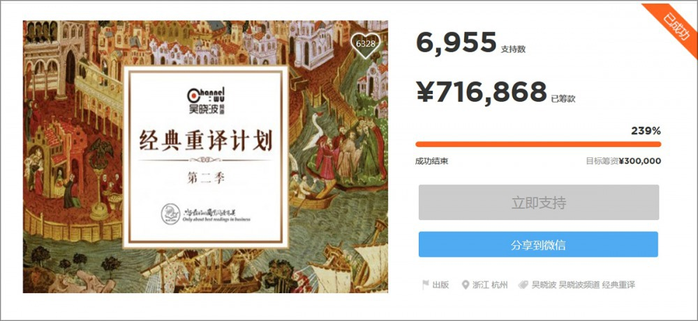 吳曉波俱樂部發起的經典重譯,為譯者爭取到「史上最高翻譯費」。(擷自眾籌網)