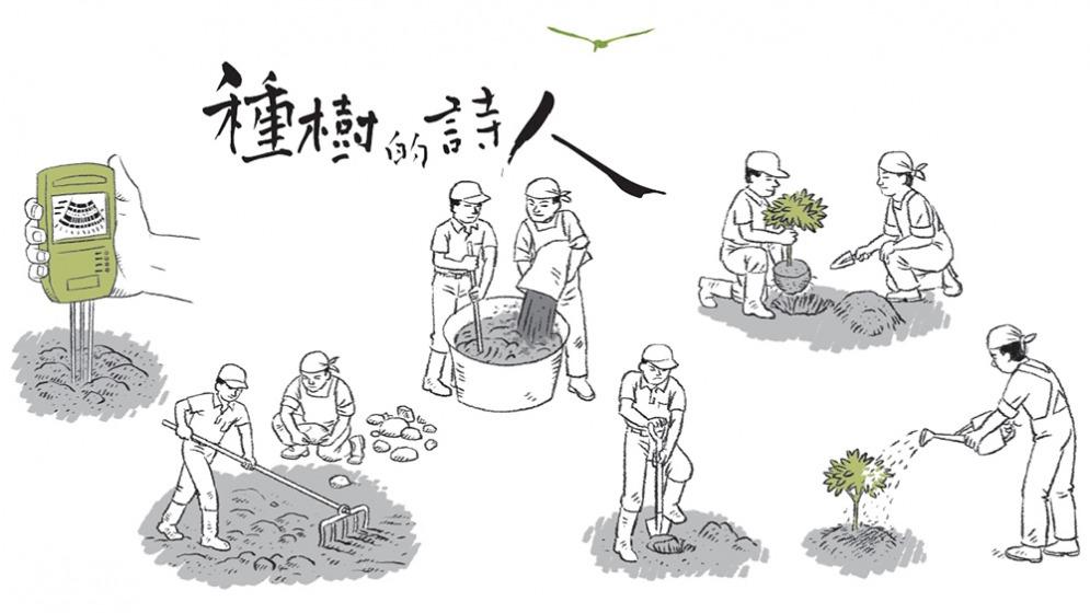 落土植樹法:(左起)檢測土壤、整地、改良土壤、挖植土、植入盆苗、充分澆水。(圖片取自《種樹的詩人》,果力文化提供。)
