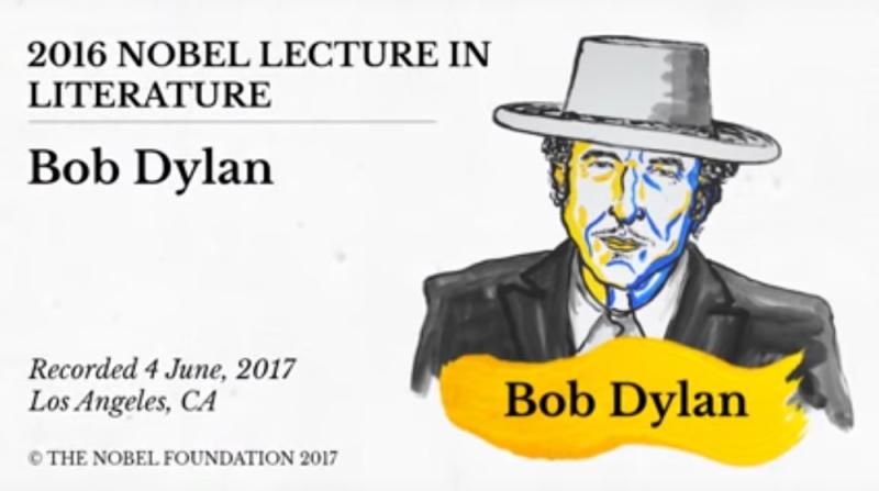 照片取自:Youtube(Bob Dylan 2016 Nobel Lecture in Literature )