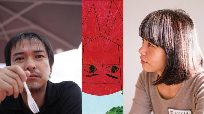 日本插畫家木內達朗(左)、台灣插畫家林小杯,還有一個紅忍者(步步提供)