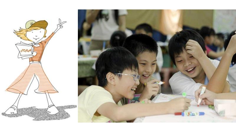 左:TCRA小小書評家宣傳圖;右:品書會中,孩子輪桌進行不同的活動(照片提供:台灣兒童閱讀學會)
