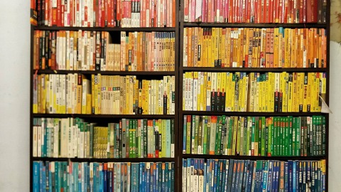 桃園中壢瑯嬛書屋的彩虹書櫃,書櫃即讓人知道她們深耕性別議題。(瑯嬛書屋提供)