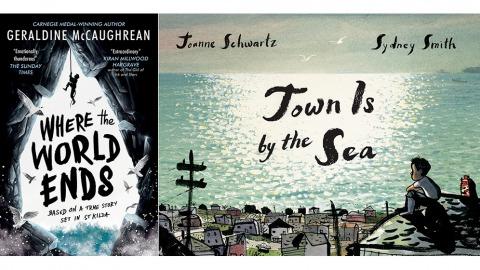 潔若婷.麥考琳以《世界結束的地方》(左)獲得卡內基文學獎;凱特.格林威獎則頒發給加拿大插畫家席尼.史密斯與作家喬安妮.施瓦茲合作的繪本《海邊小鎮》